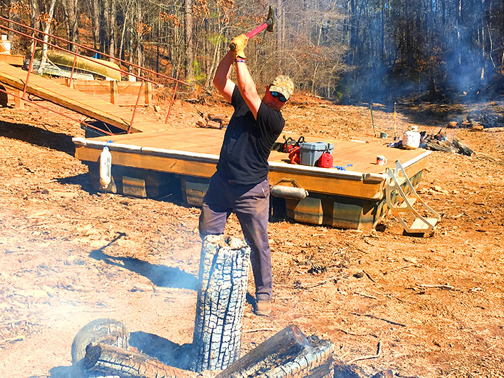 A log that's on fire must be split to burn optimally. Hardcore bro.