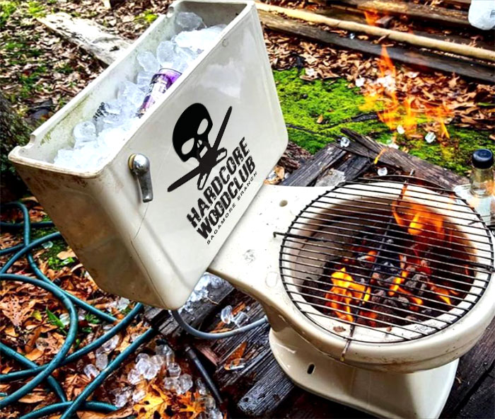 Hardcore Insulated Combo Porcelain Cooler Natural-Fired Grill.